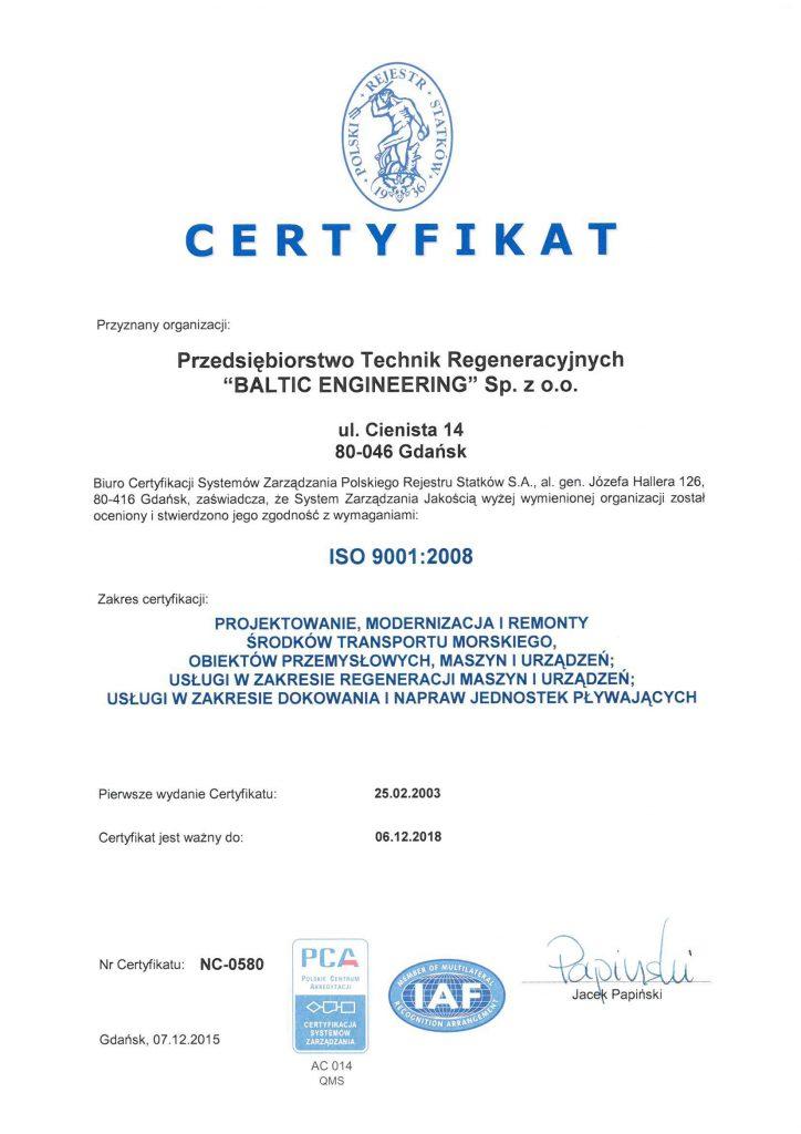 Certyfikat ISO9001 2008-2015 PRS