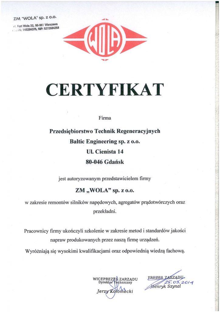 Certyfikat ZM Wola 2014