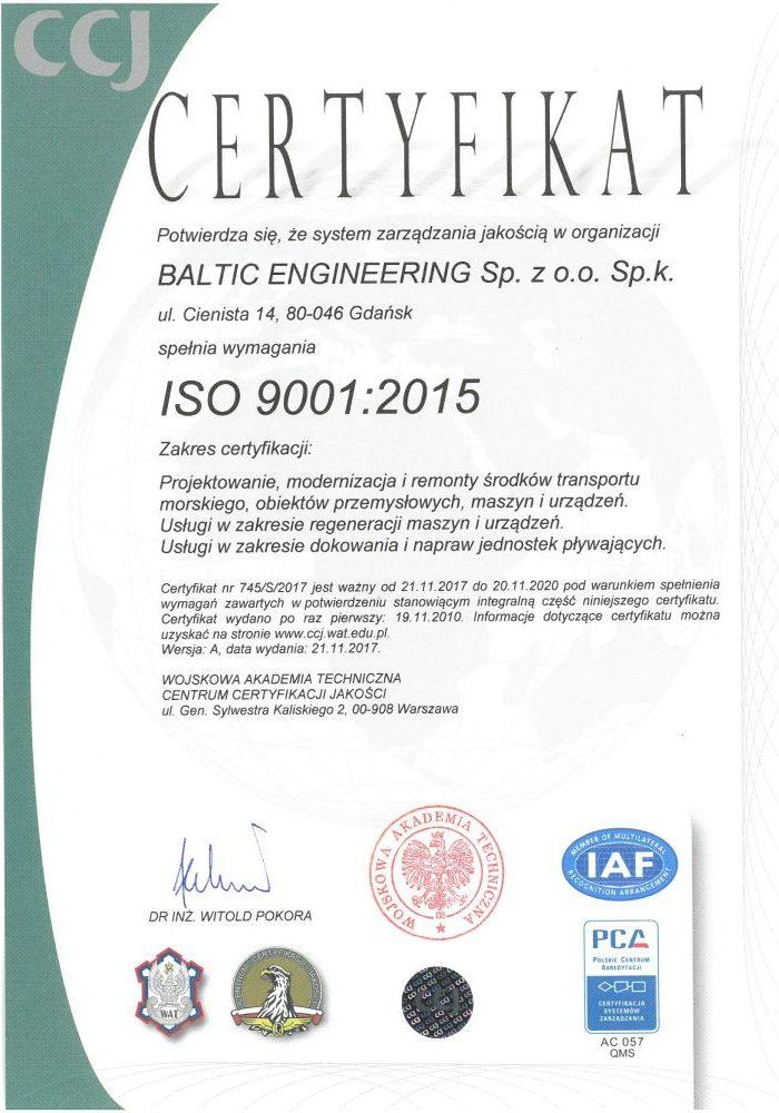 CERTYFIKAT ISO:9001 2015