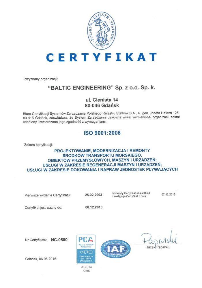 CERTYFIKAT ISO:9001 2015 - PRS