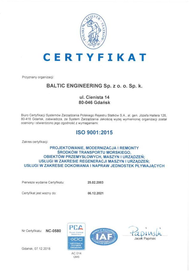 Certyfikat ISO 2015 - PRS